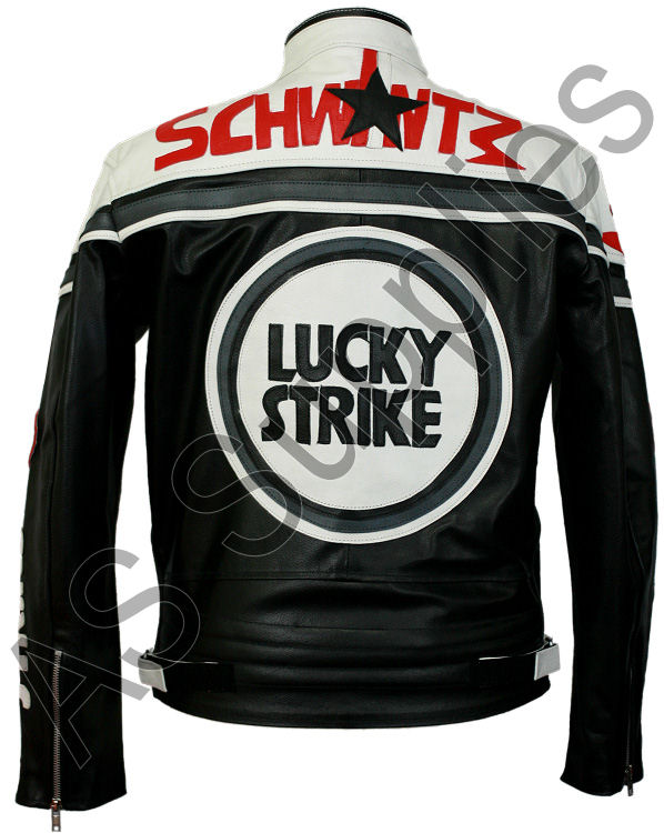 lucky strike leather jacket black and white as supplies